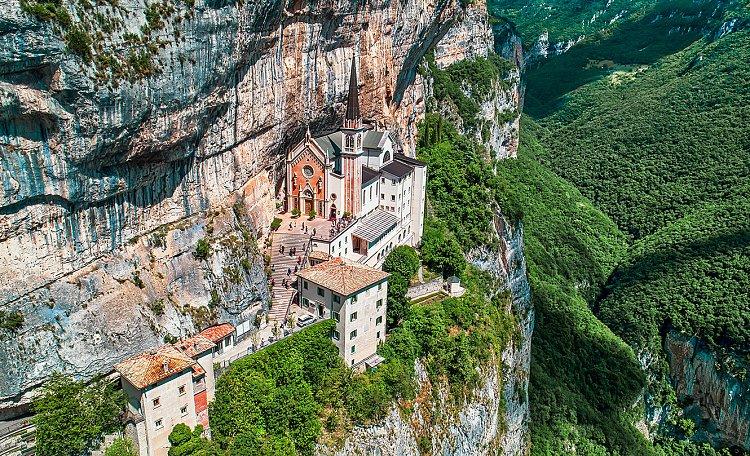 Madonna della Corona, a sanctuary overlooking the Adige valley -